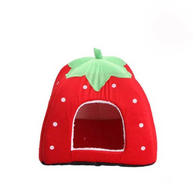 Soft Strawberry Foldable Winter Warm Leopard Print Strawberry Cave Dog Bed Pet Dog House Cute Kennel Nest for Animal Cat Tent 2