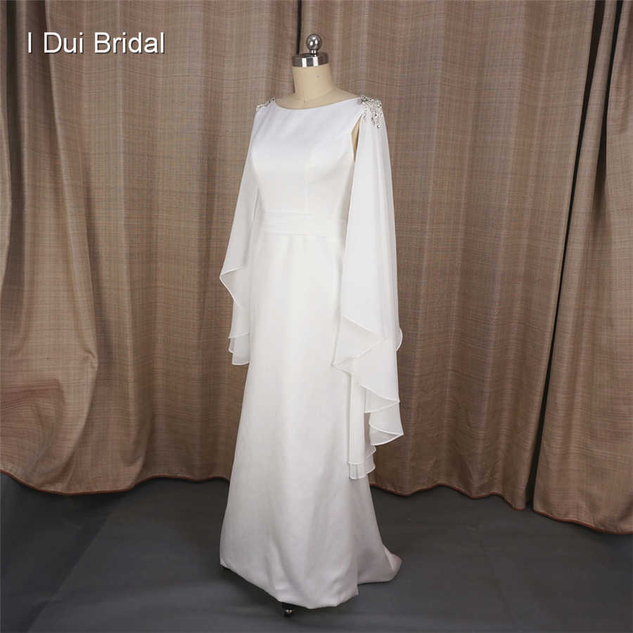 A line Simple Elegant Wedding Dresses with Cape Chiffon Scarf Greek Style Gracism Bridal Gown Made to Order Real Photo MS854