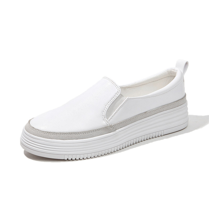 White Black Shoes 2018 Autumn Women Leather Loafers Basic Fashion ballet flats sliver Woman Slip On