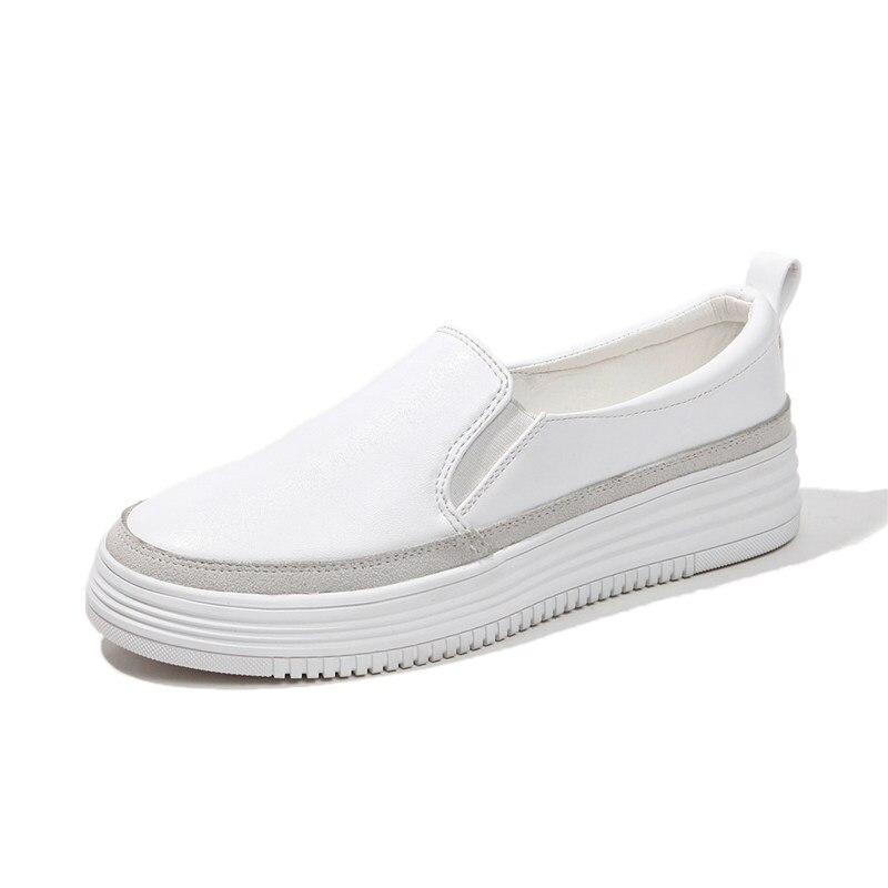 Blanc noir chaussures 2018 automne femmes mocassins en cuir de base mode ballerines argent femme sans lacet mocassins bateau chaussures mocassins