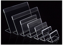acrylic card holder L-shape Clear Acrylic Table Sign Price Tag Label Display Paper Promotion Card Holders desk card frame 6*4cm free shipping acrylic clear desk table mini acrylic lucite table