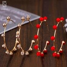 Siscathy 2019 Fashion Handmade Women Jewelry Elegant Pearl Earrings Noble Symbol for Statement Gold Hoop