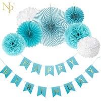 Nicro 8 Unids Boy DIY Azul Bandera del Cumpleaños Flor Abanico De Papel del Tejido Colgando Primera Fiesta de Cumpleaños Decoración Set Caso suministros