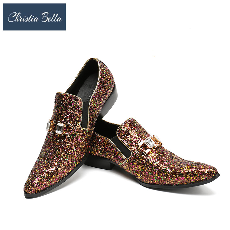 Christia Bella Luxury Men Party Wedding Handmade Loafers Glitter Dress Shoes Diamond Smoking Slippers Mens Flats Sequins ShoesChristia Bella Luxury Men Party Wedding Handmade Loafers Glitter Dress Shoes Diamond Smoking Slippers Mens Flats Sequins Shoes