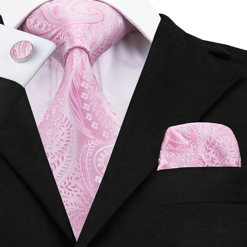 Hot Selling Wedding Tie For Men Pink Paisley 100% Jacquard Woven Silk Necktie Set With Hanky Cufflinks On Sale C-436
