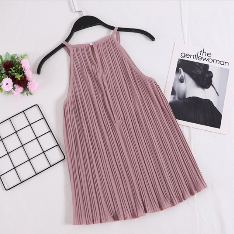 Women Pleated Sexy Sleeveless Camisole   Tops   Vintage Solid Cami   Top   2018 New Summer Female Cotton   Tank     Top   Women Loose   Tops
