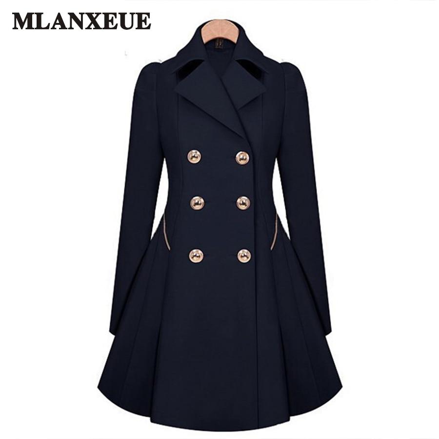2017 Autumn Windbreaker Women Fashion Slim WomanS Long Coat Plus Size Trench Coat For Women Simple Solid Color Ladies Tops