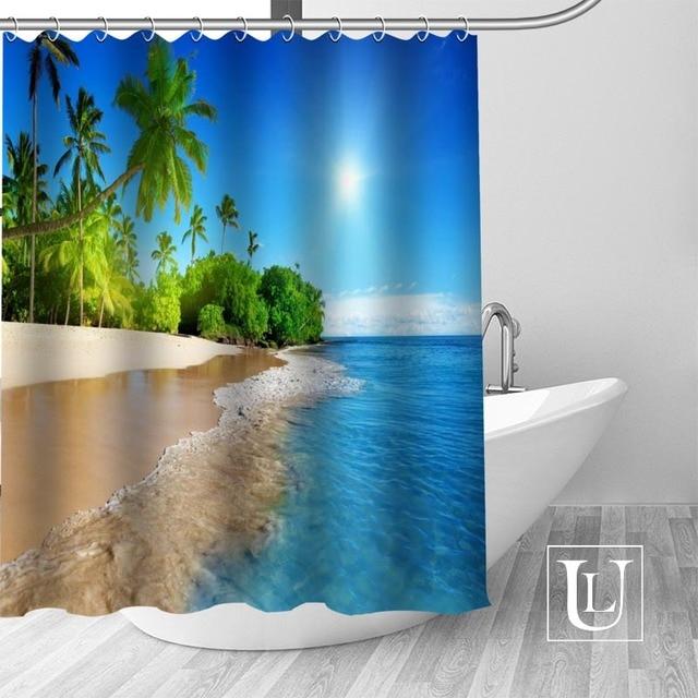 High Quality Custom Sea Summer Ocean Beach Tropical Palm Tree Shower Curtain Hooks Mildew Resistant Bath