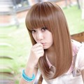 New Fashion Female/Lady's Medium Long Light Brown Synthetic Cosplay Hair Wig