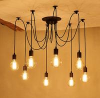 6Heads 8Heads DIY Pendant Lights Modern Nordic Retro Hanging Lamps Spider Ceiling Lamp Fixture Light For