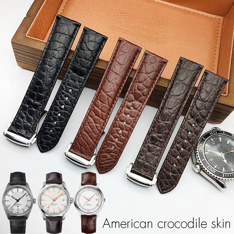 YQ 19mm 20mm Deployment Buckle Watch Bracelet Soft Crocodile Leather Strap for Omega Watch Strap Bracelet Man Black Brown +Tools survival nylon bracelet brown