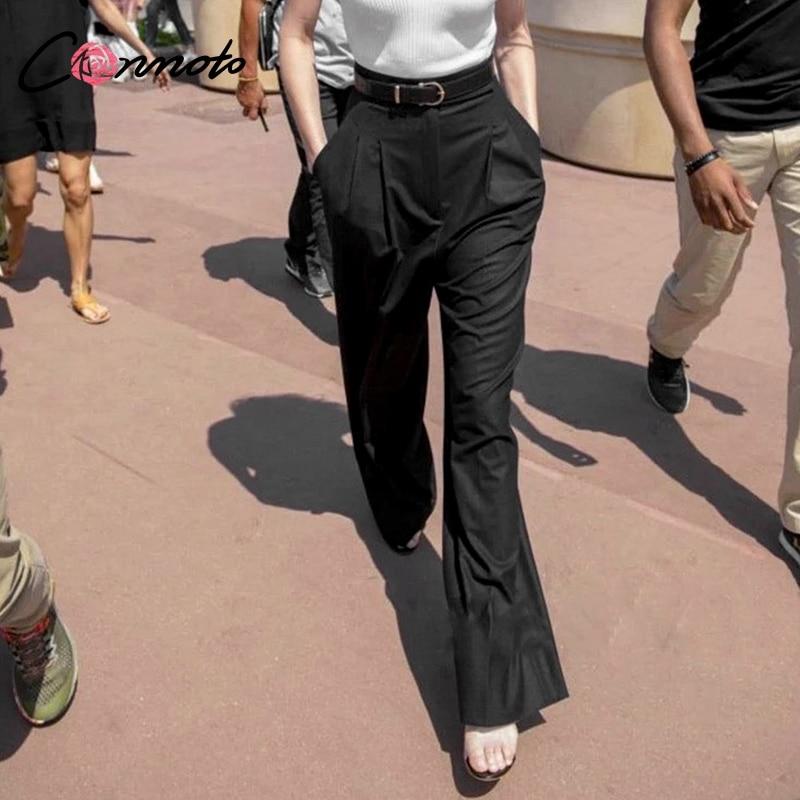 Conmoto Black   Wide     Leg     Pants   Women Office Lady High Waist Trousers Chic Streetwear Casual   Pants   Capris Female