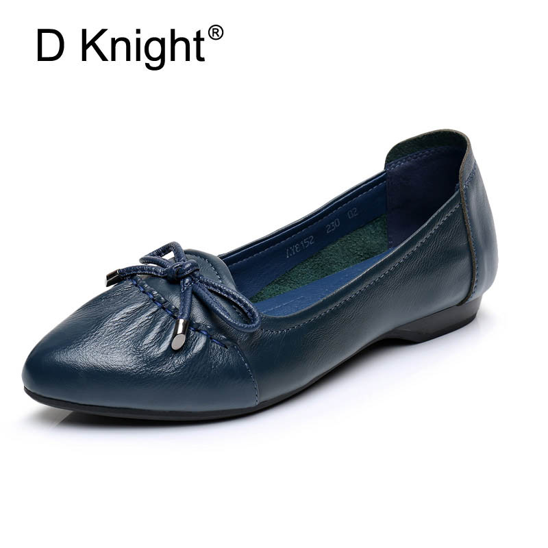 New Retro Comfort Women's Handmade Flat Shoes Casual Fashion Women Shoes Genuine Leather Loafers Slip On Pointed Toe Flats Women
