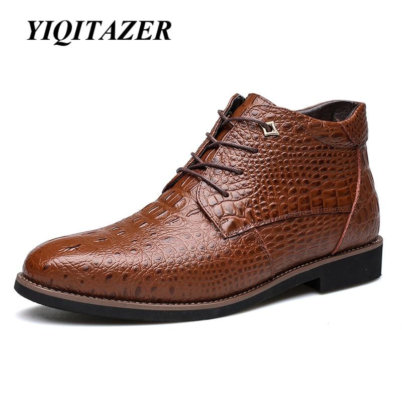 Yiqitazer Новинка 2017 года Пояса из натуральной кожи зимние Мужские сапоги. Ботильоны модная мужская Военная Униформа Обувь плюс Размеры человек…