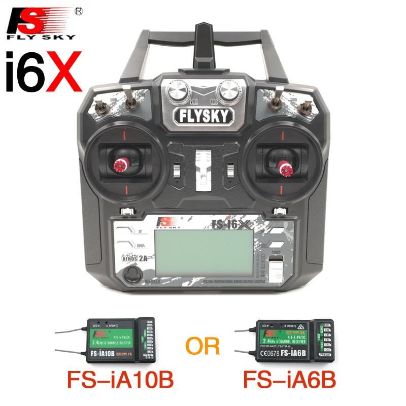 Flysky ФС-ФС i6X I6X 2.4 г RC передатчик контроллер 10/6-канальный iA10B или iA6B приемник обновление i6 для вертолета RC Мульти-ротор БПЛА