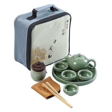 [1 théière + 4 tasses] ensemble de thé de voyage portable en plein air chinois Kung Fu théière tasses à thé maison ensemble de rangement ensemble de thé en céramique