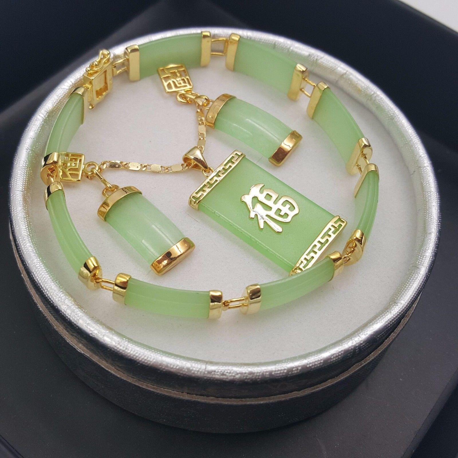 AAA Beautiful Jewelry 18KGP Purple jade pendant necklace earring set