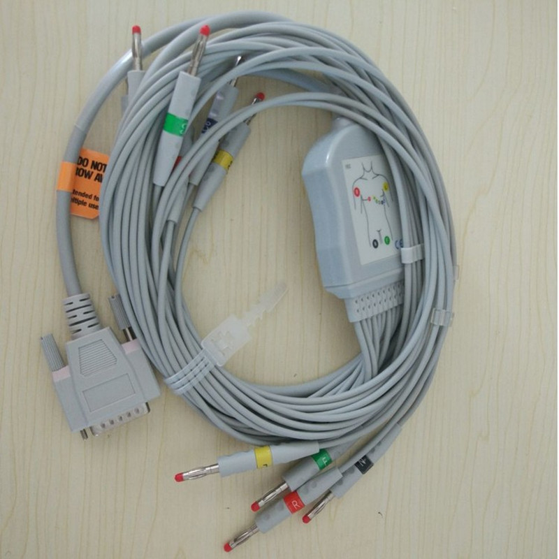 Trasporto Libero Compatibile Nihon Kohden ECG/EKG Cavo ECG-1250, ECG-1350, ECG-9101/9130/9132/9620 di Banana 4.0 end senza Resistenza