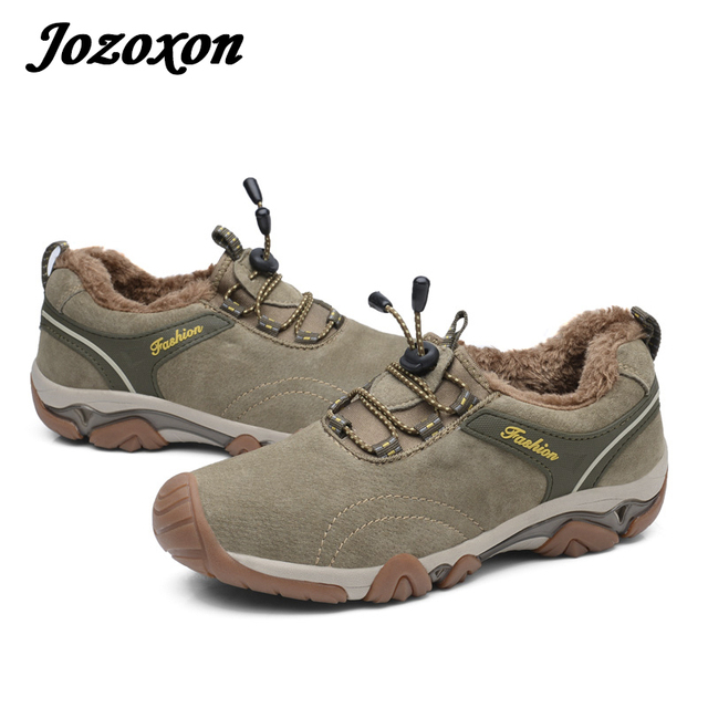 Jozoxon 2017 Men Dress Shoe Suede Leather Casual Shoe Rubber Sole Camel  Climbing Boot Steel Cap
