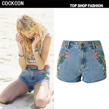 COCKCON Denim jeans shorts Women's Short Jeans 3D Embroidery Denim Shorts Casual Jeans Shorts High Waist Denim Pantalones TOP093