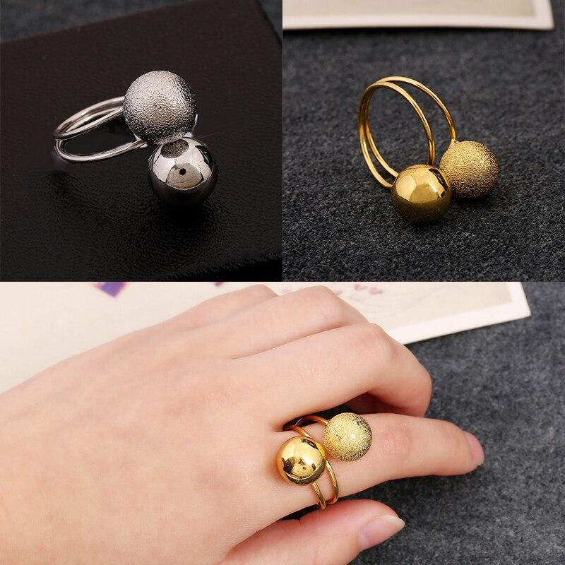 b920e977b مزدوجة الكرة الراتنج البازلاء عصابة anillos باجي المجوهرات بسيطة شخصية فاسق  حلقة التجزئة والجملة للنساء شحن مجاني