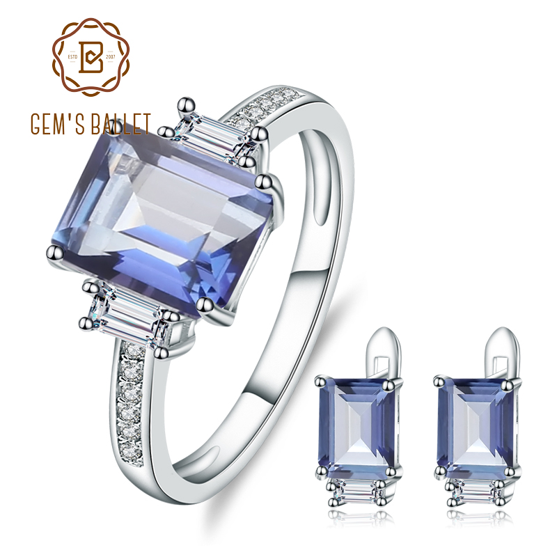 GEM S BALLET 925 Sterling Silver Jewelry Set Natural Iolite Blue Mystic Quartz Gemstone Earrings Ring