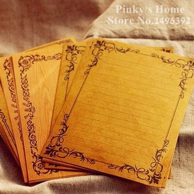 (6 Lots/packs) European Style Vintage Letter Paper Lace Vine Sobre Kraft Letter Writing Paper Stationery Letter Paper