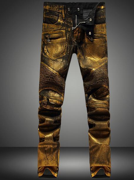 Gold silver England zipper Fold men jeans pants man famous brand 2017 pantalones hombre fashion jeans