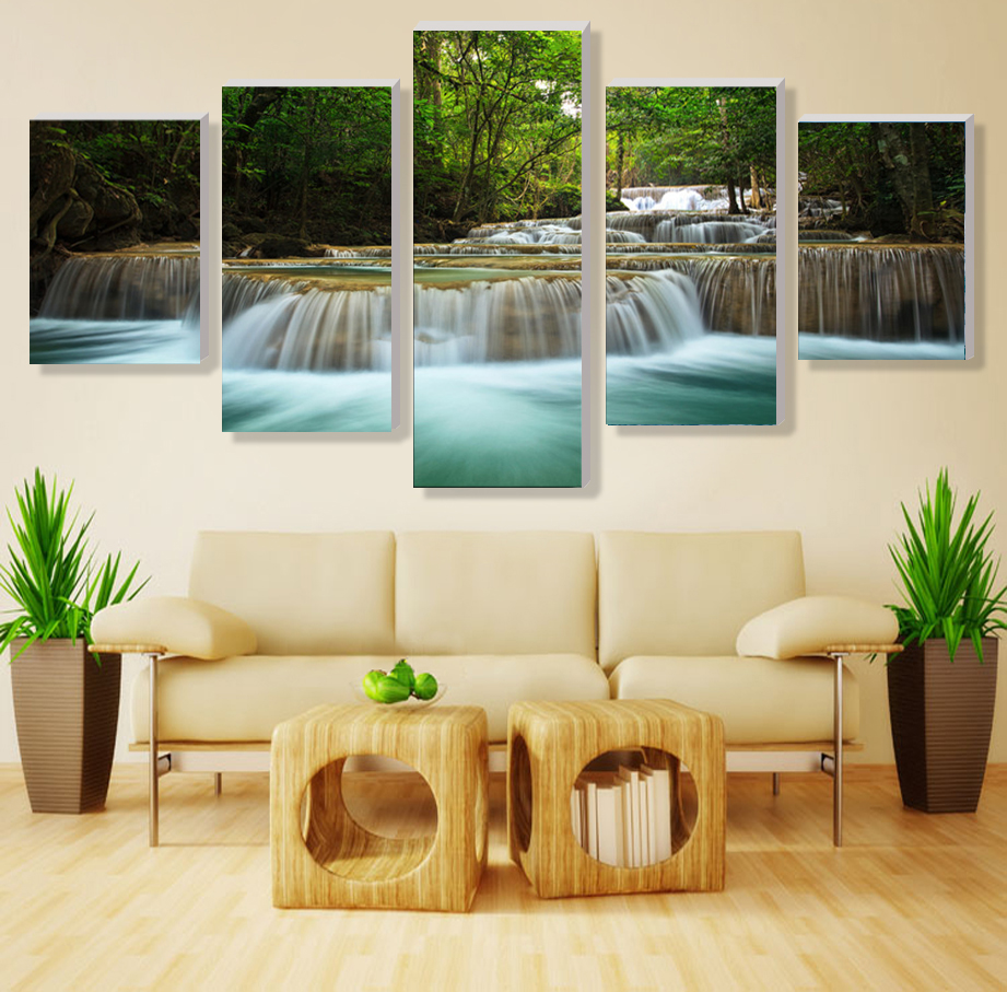 Wall Art 5Pcs Waterfall Definition Pictures Top Rated Canvas For Living Room Unframed Oil Painting New Modular In Calligraphy