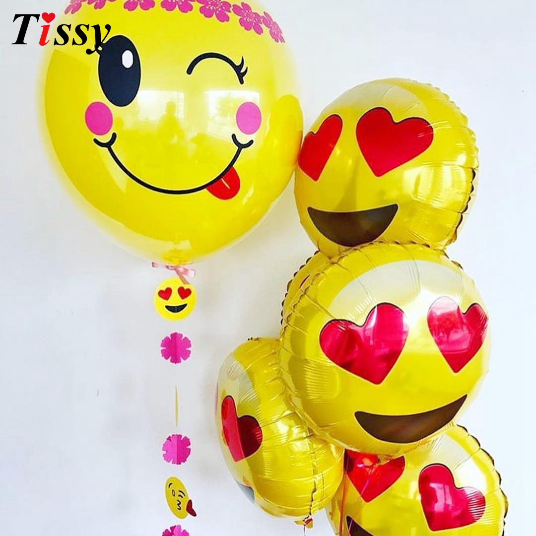 10PCS 18inch Emoji Balloon Expression Foil Balloons Smiley Face Party Wedding Kid Birthday Decoration Cartoon Inflatable Balls