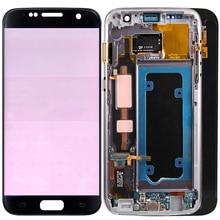 מקורי G930F LCD עבור סמסונג גלקסי S7 LCD מסך מגע מסגרת מסך תצוגת SM G930F LCD תצוגה עם לשרוף צללים