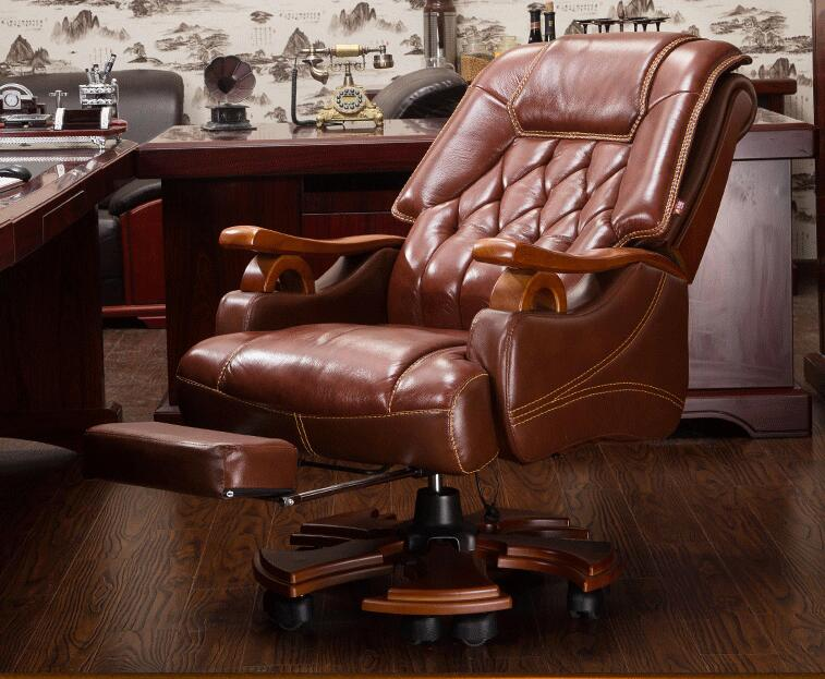 Real leather boss chair. Massage can lie office chair. .012 the boss chair is real leather the home can be massaged leather big class chair seat computer chair