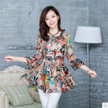 Moda 2016 novas mulheres blusa chiffon flor floral impresso túnica top mulher camisa extravagante do vintage plus size lady khaki, preto S ~ XXL