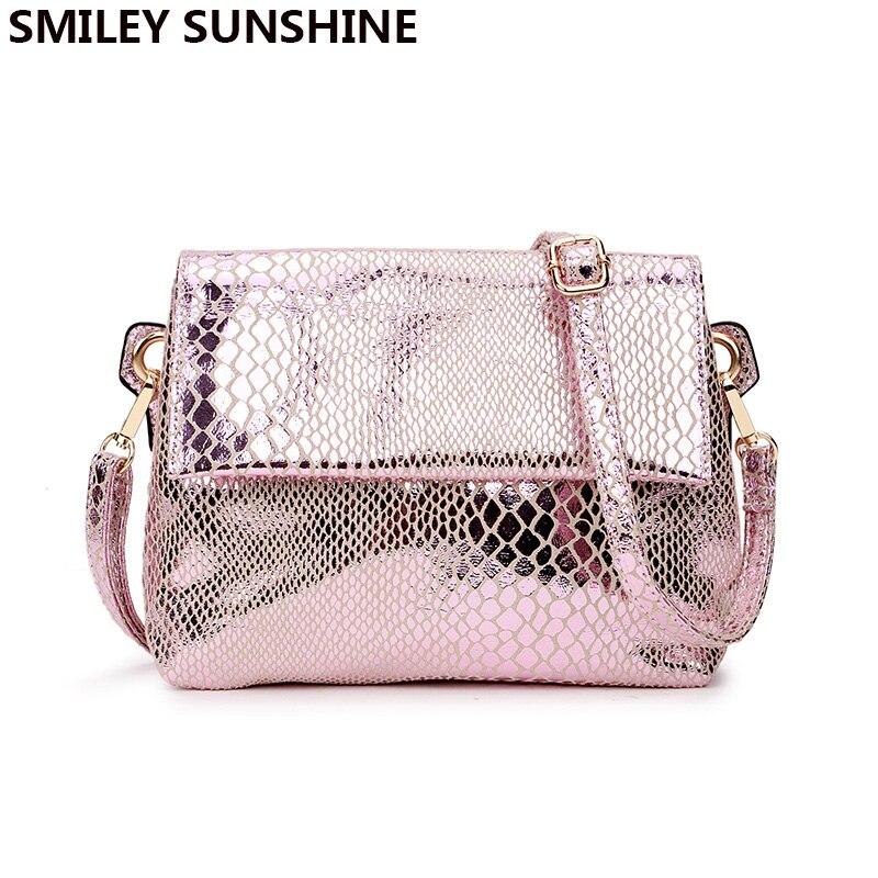 New Serpentine Women Messenger Bag Ladies Small Hand Shoulder Bag Female Crossbody Bags For Women 2018 Gold Pink Mini Handbags