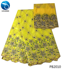 LIULANZHI yellow basin riche getzner african bazin beautiful floral embroidery lace fabric with gold beads 7yards PB20