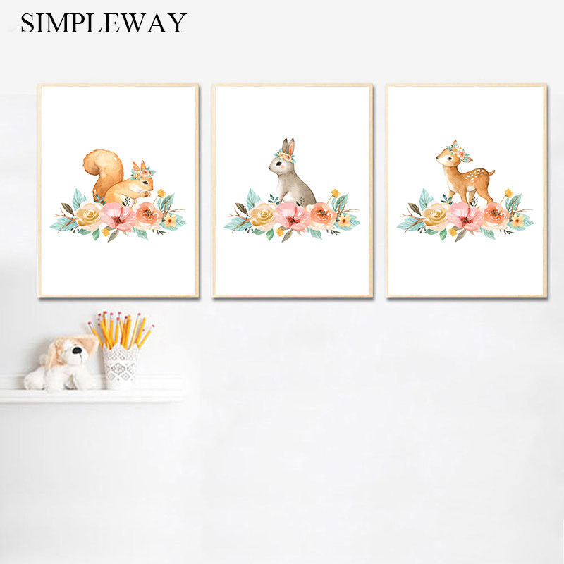 Flower Woodland Animal Canvas Poster Print Rabbit Deer Simple Wall Art Painting Nordic Kids Decoration Picture Baby Room Decor