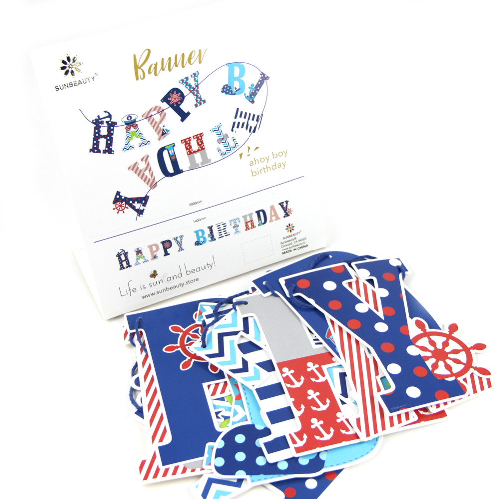 Red Navy Happy Birthday Banner Nautical Themed Banner