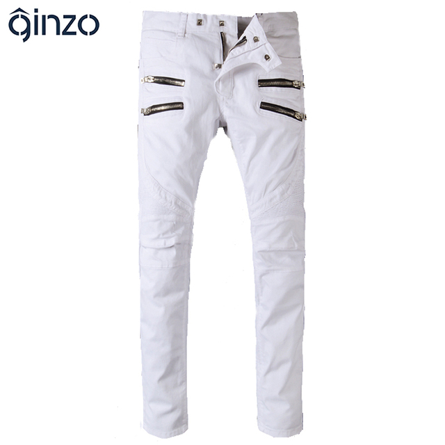 Hombres de moda zipper blanco biker jeans Casual delgado stretch denim pantalones Largos