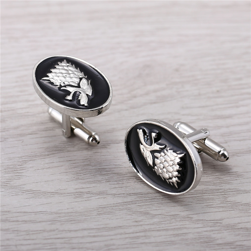J Store Men Jewelry Song Of Ice And Fire House Targaryen Dragon Game of Thrones Cufflinks For Shirt Wolf Head Cuff Links