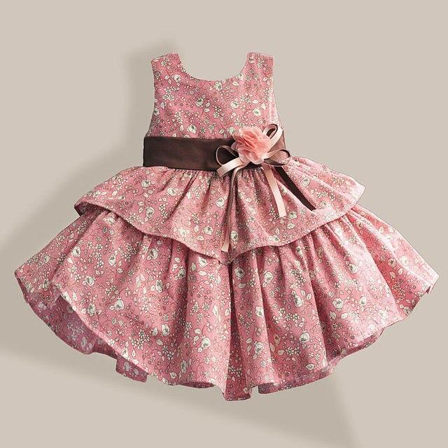 100% Хлопок Девушки Одеваются Цветочный Печати 2 Цвета Слоистых Принцесса Платья для Свадьбы Девушки Летнее Платье 1-6 Т