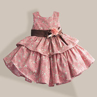100 Cotton Girl Dress Flower Print 2 Color Layered Princess Dresses For Party Wedding Girls Summer