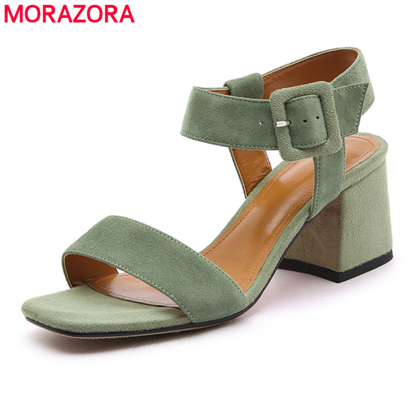 MORAZORA 2018 big size 34-42 new fashion shoes simple buckle suede leather women sandals elegant party shoes high heels shoes morazora bind pu solid high heels shoes 5cm in summer fashion elegant party shoes sandals party large size 34 42