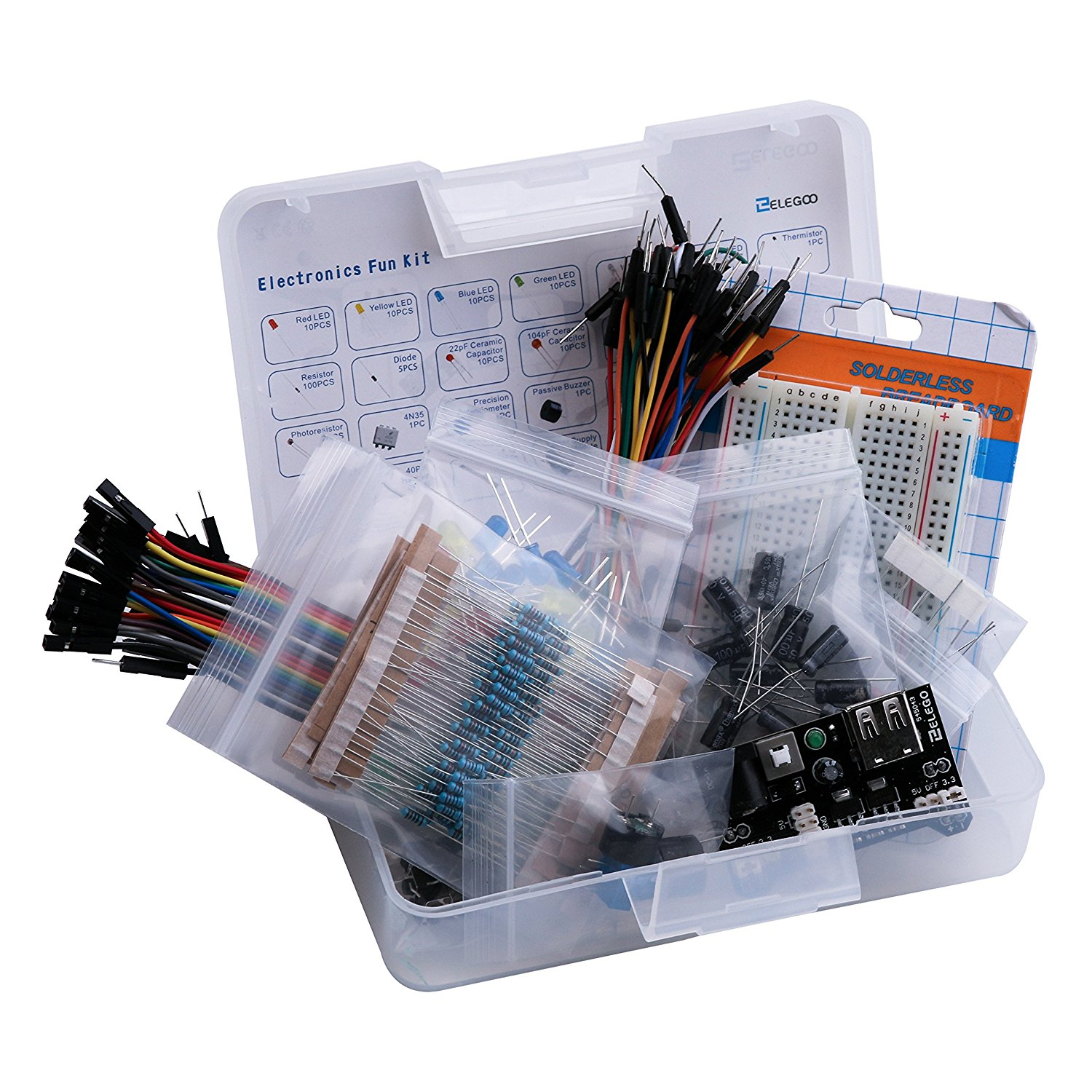 Electronic Fun Kit Bundle With Breadboard Cable Resistor Capacitor Digital Tachometer Using Arduino Plus Speed Control Led Potentiometer 235 Items For