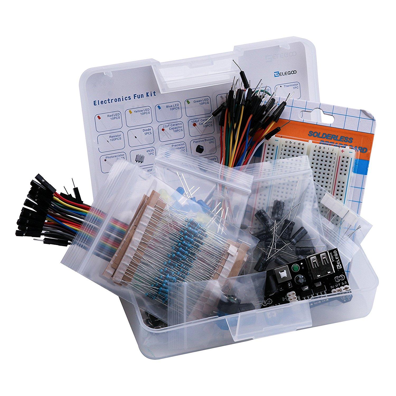 Electronic fun kit bundle with breadboard cable resistor