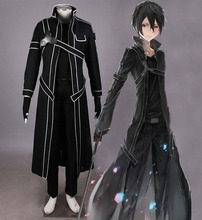 Sword Art Online Cosplay Clothing Anime Kirito Kazuto Kirigaya Cos full set Costume 4 in1(Cloak+shirt+pants+belt)