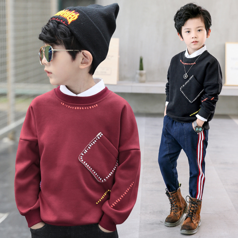 Children Boys Long Sleeve Sweatshirts 2018 Spring Kids Boy's Clothing Teenager Chid Boy Clothes Warm Plush shirt for boys