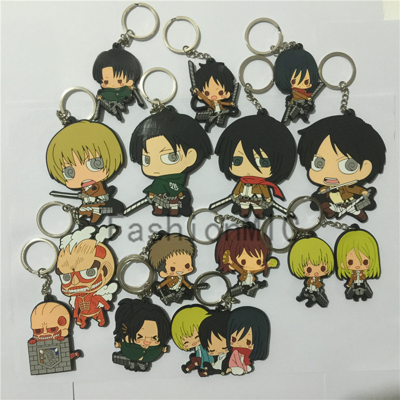 Attack on Titan Eren Mikasa Armin Anime Pendant Keychain Kryrings Men/'s Key Ring