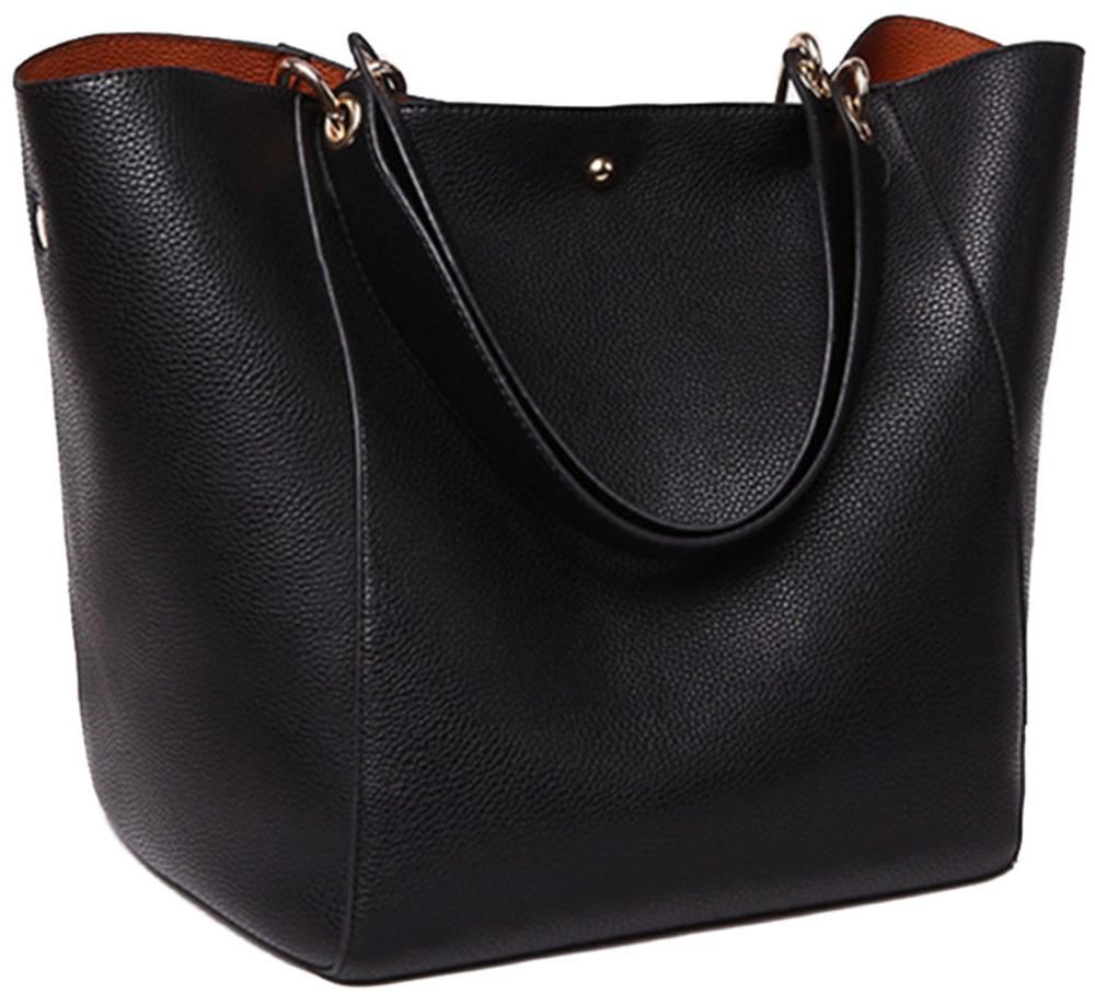 Classic Work Tote Bags For Women's Leather Purse And Handbags Ladies Waterproof Shoulder Commuter Bag Black