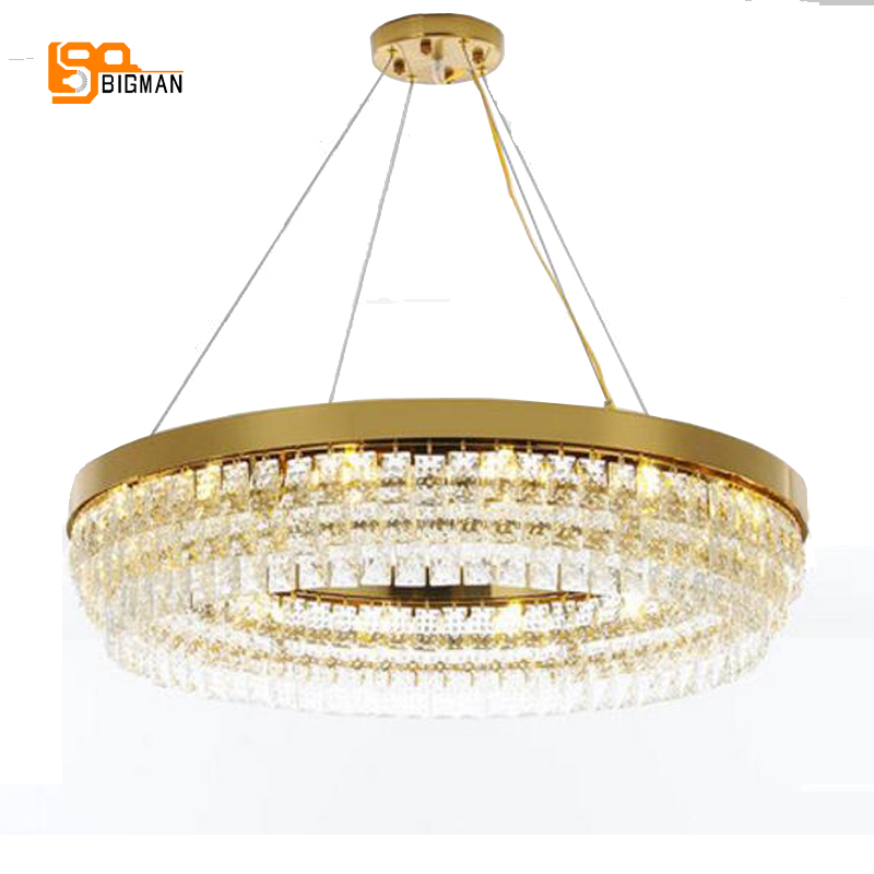 New item round crystal chandelier modern lamp AC110V 240v gold kronleuchter dinning room living room LED lights led crystal chandeliers lamp round ring hanging lights modern led crystal chandelier fixture for living room lobby ac110v 240v