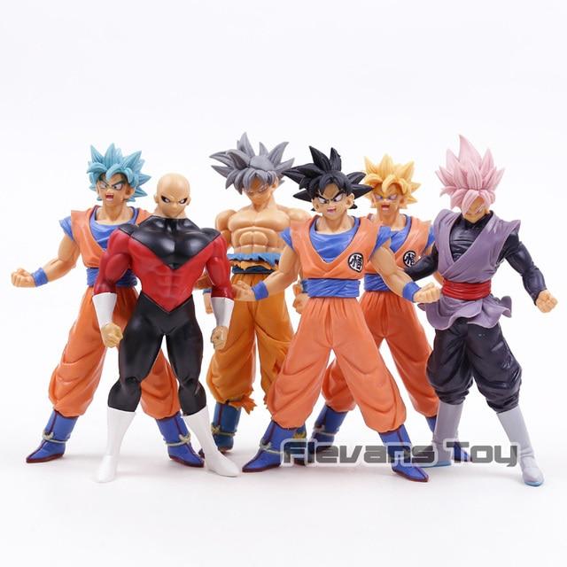 Dragon Ball SUPER Ultra Instinto Jiren Goku Goku Super Saiyan Deus SS Azul Rosa Preto PVC Figuras Brinquedos 6 pçs/set